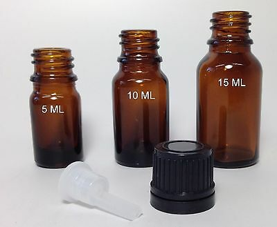 Amber Glass Bottles with Euro Droppers and Black Caps