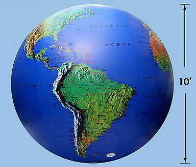 Monster 10` Inflatable Earth Globe-Topographical-HUGE, SUPER DUTY Beach Ball!