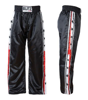 Blitz Xtreme Satin Full Contact Trousers Kick Boxing Martial Arts Kids & Adults