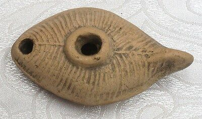 "Antique Ancient Roman Pottery Oil Lamp 1st - 4th c. A.D. Terracotta 4.25"" x 2.5"""