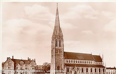 Londonderry, St. Eugene's Cathedral, sepia RP postcard, unposted