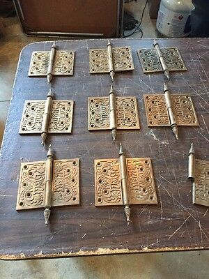 "H115 8 1/2 Matching Antique Very Decorative Bronze Hinge 5"" X 6"""