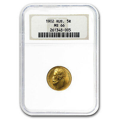 1902 Russia Gold 5 Roubles MS-66 NGC - SKU #30623