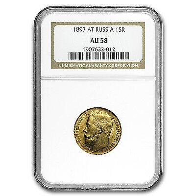 1897 Russia Gold 15 Roubles AU-58 NGC - SKU #64110