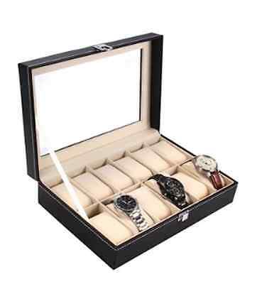 Ohuhu 12-Slot Leather Watch Box / Ideal Gift for Mother's Day and Father's Day!