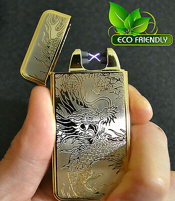 Gold Dragon USB Rechargeable Flameless Windproof Dual Arc Electric Lighter