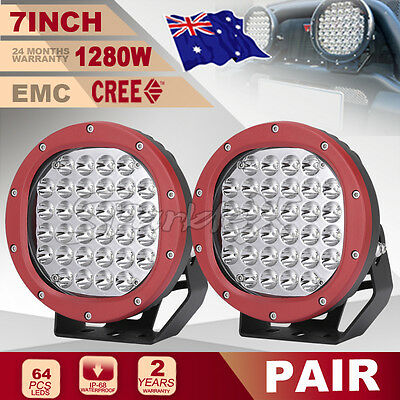 7'' 1280w NEW Cree LED Driving Spot Work Light RED Offroad 4WD ATV HID Round UTE