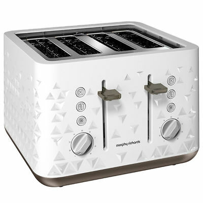 Morphy Richards 248102 Prism White Toaster 2/4 Four Slice Toast 7 Settings 1800W