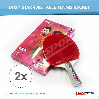 0 2x DHS 4002 LONG HANDLE TABLE TENNIS/PING PONG RACKET/BAT/PADDLE FREE DELIVERY