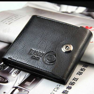 Men's Genuine Leather Black Bifold Wallet Credit/ID Card Holder Slim Purse US