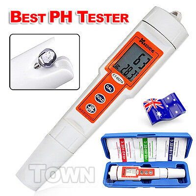 Digital PH Tester Meter Auto Calibration Thermometer Kit Waterproof Pocket Pen