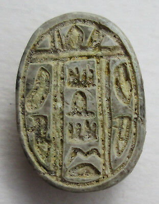 Egyptian Steatite Scarab With Very Nice Decorations On The Back Archaeology