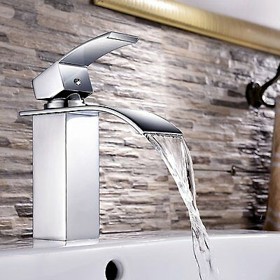 Square Waterfall Brass Faucet Brass Chrome Bathroom Vanity Sink Basin Mixer Tap