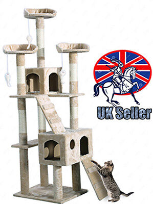 Cat Tree Activity Centre Scratcher Scratching Post Sisal With Toys Bed