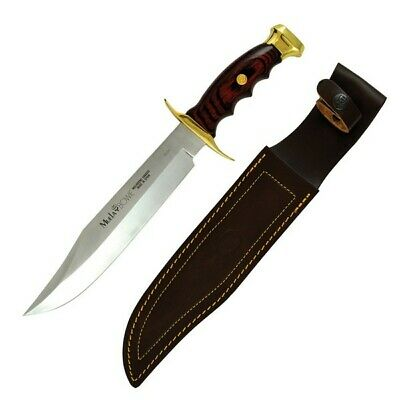 MUELA Bowie 22 Knife Coral Wood Handle Brass Bolster Stainless Blade +Sheath