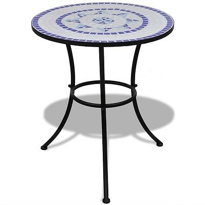 Mosaic Patio Table Blue Outdoor Metal Furniture Iron Bistro Garden Round Tables