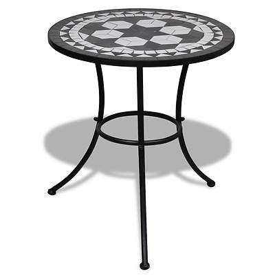 Mosaic Patio Table Black Outdoor Metal White Bistro Round Coffee Tables Balcony
