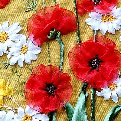 Ribbon Embroidery Kit Blooming Peace Flowers Needlework Craft Kit RE3016