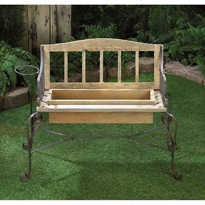 Rustic Vintage-Inspired Ironwood Flower Bench Planter Box yard garden decor