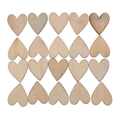 """20 X Wooden Wood Pieces Hearts Cutout Craft 1.1x0.98"""" HOT AD"""