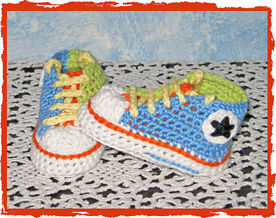 Scarpine Sportive Neonato A Uncinetto Multicolor Sneakers All Star Baby Crochet