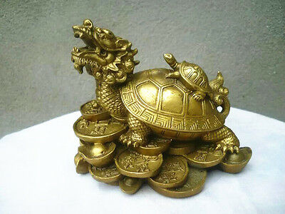 lucky Chinese Copper Fengshui Dragon Turtle Statue