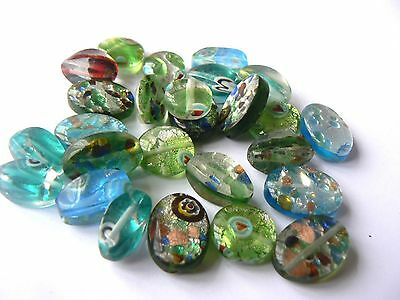 Beads Millefiori Style Glass with Foil Mixed Shapes, Sizes & Colours x 25 beads