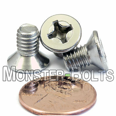 Stainless Steel Metric M6 X 25mm Phillips Flat Head Machine Screw A2 PFH 10 Pack