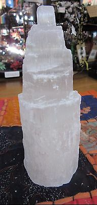 x1 Selenite Carved Large Tower 14 cm Tall Reiki Metaphysical Healing
