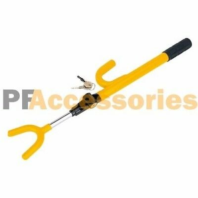 Anti Theft Security Single Hook Steering Wheel Lock for Car Truck SUV (Yellow)