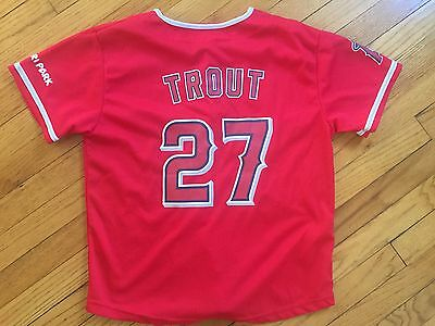 Used MLB LOS ANGELES ANAHEIM ANGELS TROUT BASEBALL JERSEY STYLE T-SHIRT L/XL