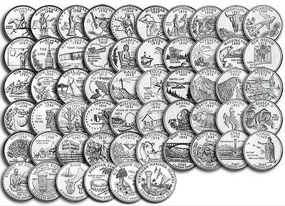 """1999-2009 US State Quarters Complete Uncirculated Collectible Set 56 Coins """"D"""""""