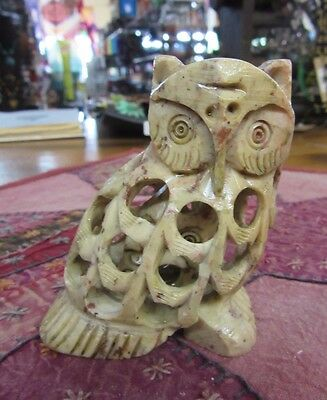 Soap Stone Hand Carved Owl Statue Ornament 9 cm Tall