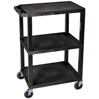 Luxor H. Wilson WT34S Multi-Purpose Tuffy Utility Cart with 3-Shelves in Black