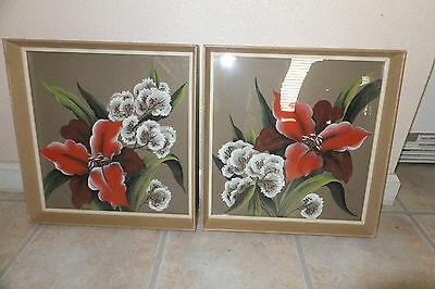 mid century pair original watercolor signed Inez tropical asian red white flower