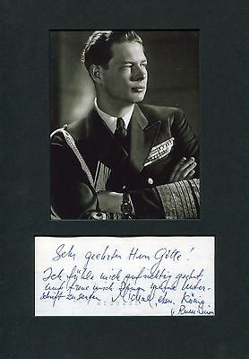 King Michael I of Romania autographed note signed & mounted