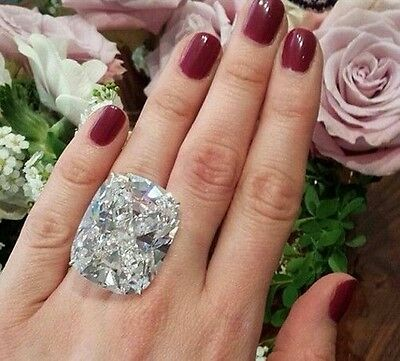 100 ct Cocktail Party Ring inspired 925 Sterling silver White cushion-cut Cz Sz