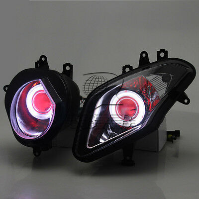 HID Projector White Angel Red Devil Eyes Headlight For BMW S1000RR 2009-2014