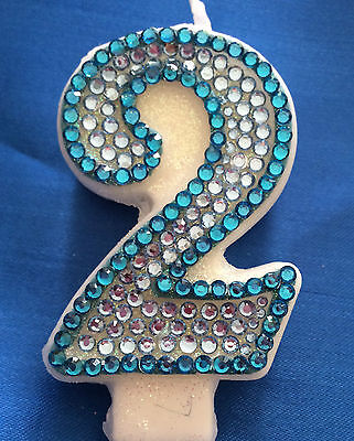2nd Birthday Candle Number Two Diamante Candle Cake Topper Blue Party FREE POST