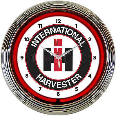Neon sign Clock International Harvester IH Case Farm Tractor  barn lamp light
