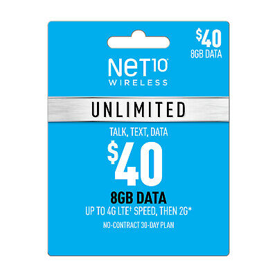 NET10 $40 UNLIMITED MONTHLY Refill CARD applied TO YOUR PHONE