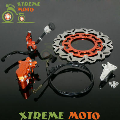 Front Brake System Lever Cylinder Hose 4 Pot Caliper Adaptor Rotor Disc For KTM