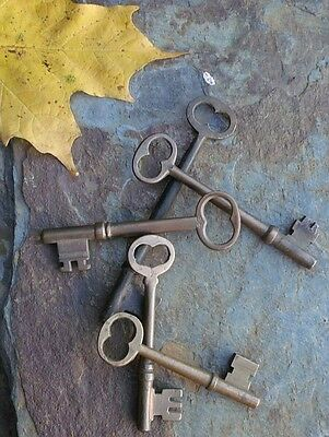 Five Antique  Bronze Skeleton  Antique Door Keys