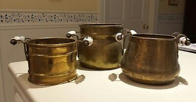 3 Vintage Replica Antique Solid Brass Planters with Blue/White Delft Handles,