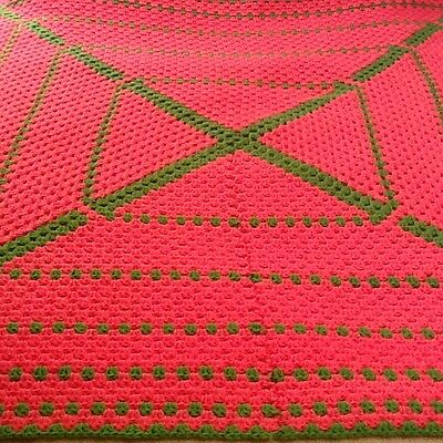 Gorgeous Large Handmade Afghan! Vibrant Pink And Green!   Very Nice!!!