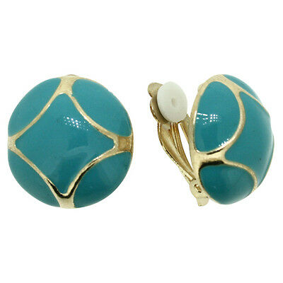 Brand New Vintage Inspired Gold Plated Turquoise Enamel Round Clip-On Earrings