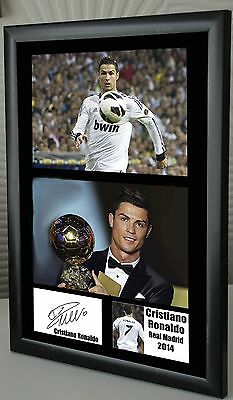 """Cristiano Ronaldo Real Madrid Framed Canvas Print Signed  """"Great  Gift"""""""