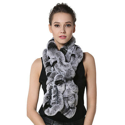 Fashion Womens Real Knitted Rex Rabbit Fur Scarves Winter Thick Fur Neckerchief