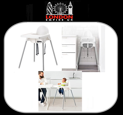 BABY HIGHCHAIR WITH SAFETY STRAPS & MATCHING TRAY IKEA ANTILOP 48 Hour Tracked