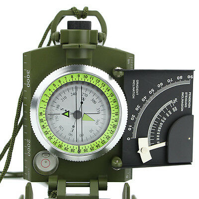 Professional Pocket Military Metal Sighting Compass Inclinometer New Green Color